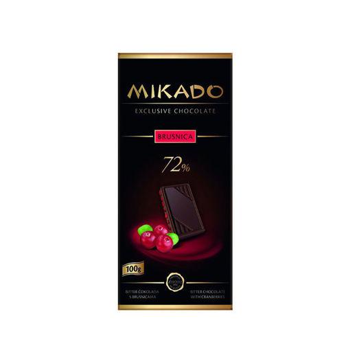 Фотографија од Микадо Темно Чоколадо 72% со Брусница 100гр